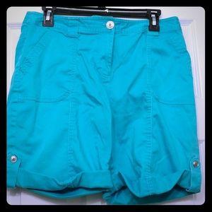 Blue green cargo shorts